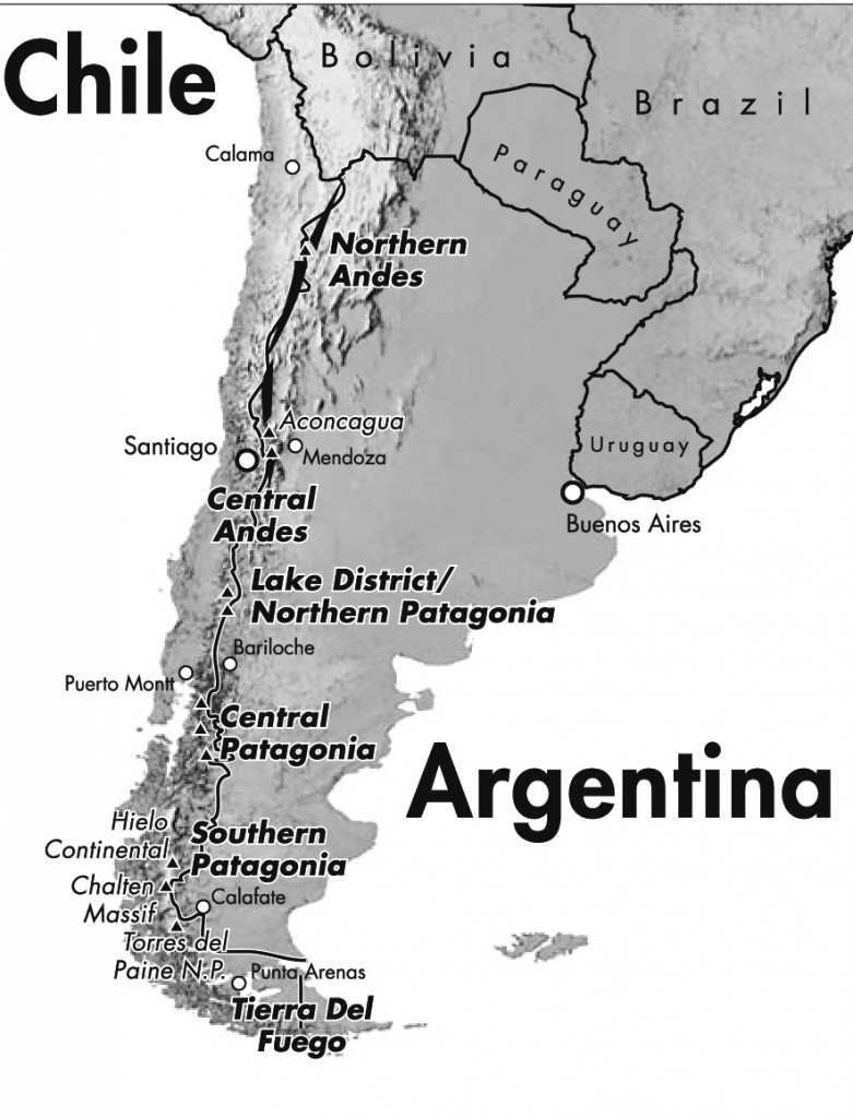 Andeskæden ligger lige på grænsen mellem Chile og Argentina.