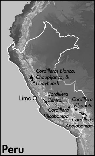 De væsentligste bjergområder i Peru