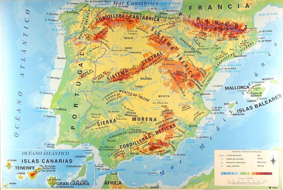 Mapa Relieve De España.Geografia Antonio Herrera Huerta Educamadrid